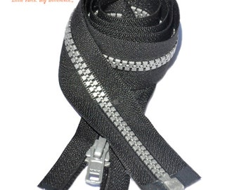 4 inch to 29 inch Vislon Zipper Black with Pewter Grey Teeth  YKK 5 Molded Plastic Separating By Each (Your Choice of Length) ~ZipperStop