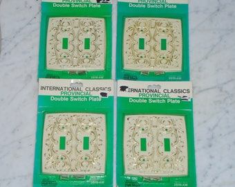Set of 4 Vintage Textron Hall Mack International Classics Antique White Provincial Double Light Switch Plate Covers