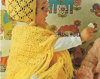 Baby Crochet Pattern - PDF Download, Poncho and Bonnet to fit 6 - 12 months