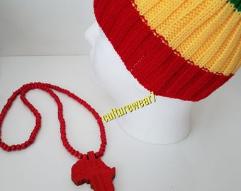 Rasta Beanie & African Map Necklace Set