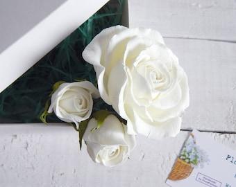 Ivory rose hair pins Bridal hairpins Ivory wedding Floral hair piece Small flowers Bridal head piece Flower hair piece Bridesmaid headpiece