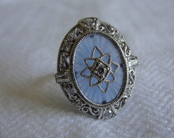 Blue Camphor glass ring size 7
