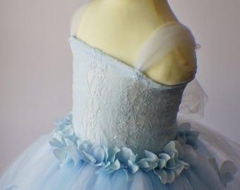 Flower Girl Dress, Tutu Dress, Photo Prop, Purple Flower Dress, Lace Top, Cascading Flowers, Tutu Dress, Baby Blue Dress, White Dress
