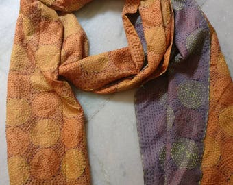 Vintage Reversible Pure silk kantha scarf, neck wrap, boho stole, India Deco silk dupatta