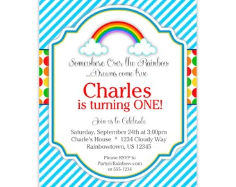 Rainbow Invitation - Blue Stripes, Red Yellow Orange Green Polka Dots, Rainbow Personalized Birthday Party Invite - Digital Printable File
