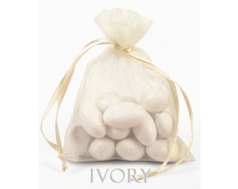 10 Ivory Organza Bags, 12 x 14  Inch Sheer Fabric Favor Bags
