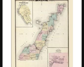 Door County Wisconsin Map Print Poster Sturgeon Bay