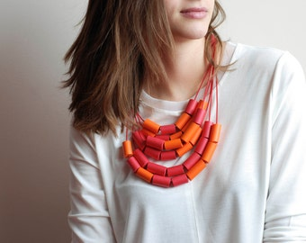 Contemporary Red Orange Necklace, Hand-made Necklace, Tubes Necklace, Statement Necklace
