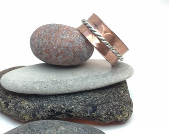Rustic copper spinner ring, meditation ring, fidget ring, with embossed hearts and twisted sterling silver wire spinning band, size 11