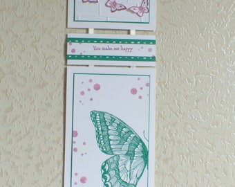 Triptych, soft toy, butterfly, green, pink