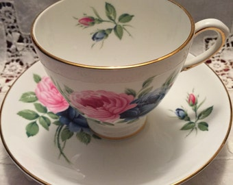 Royal Taunton Roses teacup and saucer Bone China England