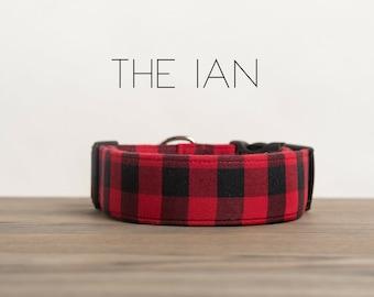 "Red & Black Lumberjack Buffalo Plaid Dog Collar ""The Ian"""