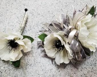 Cream, Ivory and Dark Gray Silk Flower Wrist Corsage and Boutonniere Set.