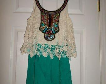 Vintage Romper Beaded Romper Lace Jumper Couture Romper Beaded Jumper Bohemian Romper Bohemian Jumper