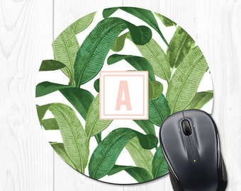 Custom Mouse Pad Leaves Office Decor Mousepad Leaves Gift School Supplies Mousepad Banana Leaf Monogram Mouse Pad Personalized Mouse Pad