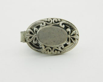 Tiny Antiqued Silver Oval Tie Clip