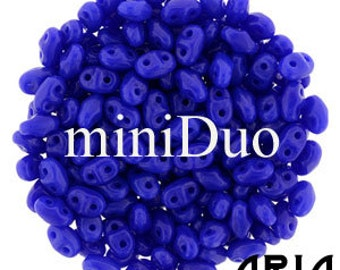 OPAQUE BLUE: MiniDuo Two-Hole Czech Glass Seed Beads, 2x4mm (10 grams)