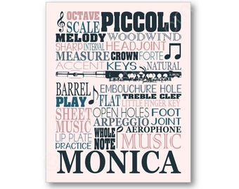 Piccolo Typography Poster, Piccolo Player Gift, Piccolo Art, Piccolo Canvas, Piccolo Player Gift, Band Art, Piccolo Art Print, Piccolo Print