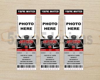 Hockey Invitation, Hockey ticket invitation, Hockey Birthday Party, Hockey party, Hockey ticket invitation, Ticket invitation