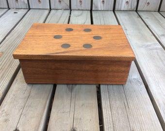 Teak with Brass Inlay Trinket / Keepsake Box