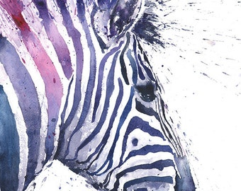 Zebra print watercolor zebra painting zebra decor nursery decor watercolor animal art zebra art wildlife painting zebra wall art