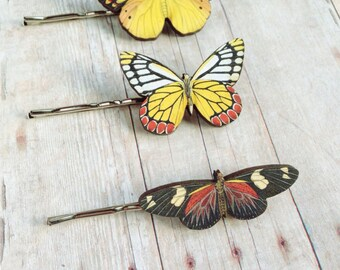 Red Yellow Black Butterfly Hair Accessory Fairy Barrette