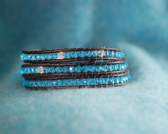 Inspired leather wrap bracelet with aqua glass beads on brown leather (B246)