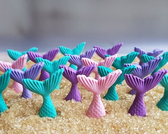 20 edible fondant  sugar mermaid tails beach party cake cupcake decorations toppers teal pink purple