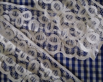 """7yds19""""Poly Cotton White Lace Trim 3.75"""" Wide."""