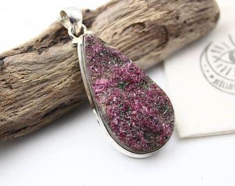 Rough Cobalto Calcite Druzy & 925 Sterling Silver Pendant • Cobaltocalcite • Gemstone Jewelry • Boho Jewelry • Boho Chic