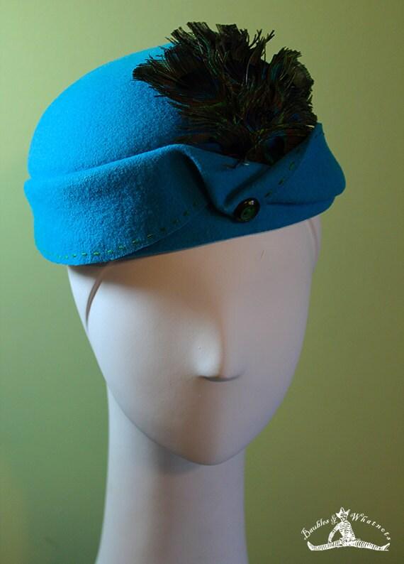 Aqua Blue Wool Cloche Women's Hat Peacock Feathers - Aqua Blue Wool 1920s Style Cloche - Small - OOAK