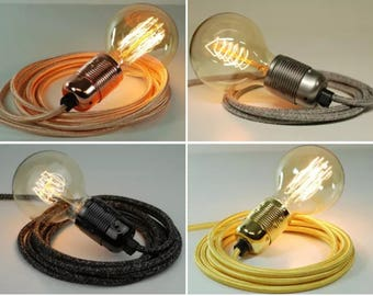 Premium Fabric Flex Cable Plug In Pendant Lamp Light Set E27 Steel Fitting & 40w Globe Edison Bulb
