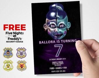 Ballora Invitation, FNAF Invitation, Five Nights At Freddys Invitation, Sister Location Invitation, Five Nights At Freddys Party Supplies