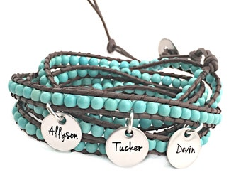 Personalized Turquoise and Leather Wrap Bracelet - Engraved Jewelry - Beaded Wrap Bracelet - Leather Wrap - Teal and Brown - Arm Wrap - 1043