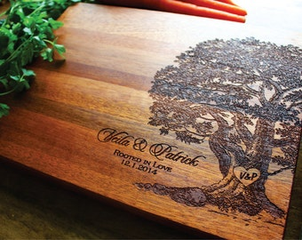 Engraved Tree Cutting Board, Wedding, Anniversary, Womens Gift, Husband Gift, Housewarming Gift, Personalized Cutting Board, Bridal Shower