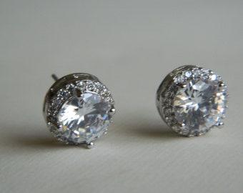 Bridal Crystal Earrings, Cubic Zirconia Halo Earring Studs, Wedding Earrings, Bridal Jewelry, Bridesmaids Earrings, Round Cut Bridal Studs