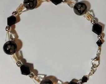Unique Spider Vein Agate and Citrine Triangle Bracelet