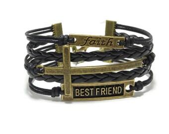 Christian Gift, Cross Bracelet, Sideways Cross Bracelet, Faith Bracelet, Christian Jewelry, Christian Bracelet, Catholic Bracelet Jewelry