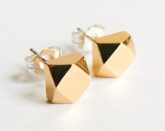 Gold Stud Earrings - Faceted Chunky Geometric Studs - Eco Friendly Everyday Earings - Faux Diamond Jewelry - by Hook And Matter