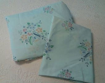 Vintage twin fitted sheet and standard pillowcase blue floral bedding