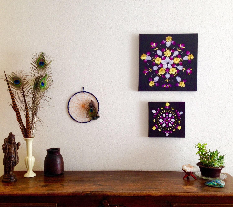 Flower Mandala Photo Printed Canvas Daisy And Gladiolus On
