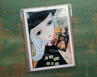 SALE!  Halloween Card, Halloween Art, Greeting Card, Note card Sale card Clearance Card, Whimsical Halloween, Whimsical Girl, witchy girl