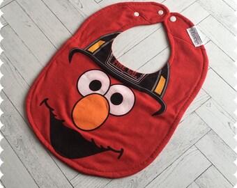 Sesame Street Elmo Baby Bib, Elmo Firefighter Recycled T-Shirt Bib, Sesame Street Baby, Baby Shower, New Baby Gift, Firefighter Baby