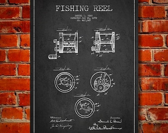 1892 Fishing Reel Patent, Canvas Print, Wall Art, Home Decor, Gift Idea