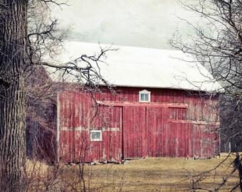 Red Barn Photography, Rustic Home Decor, Barn Art, Country Wall Art, Red Barn Print, Rustic Farmhouse Decor, Barn Picture, Large Farm Print