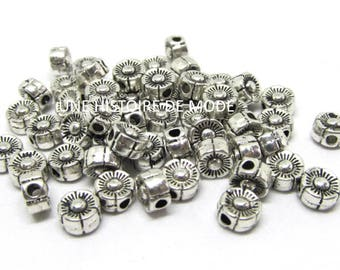 Set of 20 beads in Silver flower shaped 5.5 mm - Pearl silver pearl - beads - supplies - beads - metal