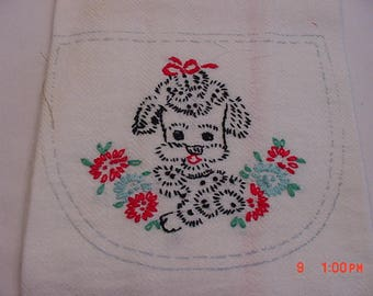 Vintage Cotton Hand Embroidered French Poodle Dog Hand Or Dish Towel  17 - 663