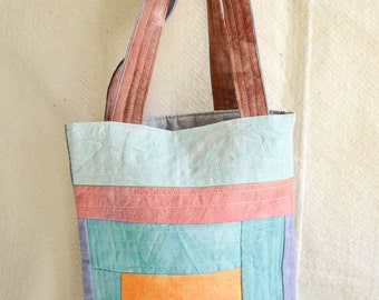 Tote bag - Pastel Hand Dyed Canvas - quilted