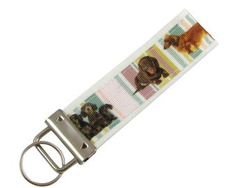 Personalized Key Chain / Key Fob Dachshund Dogs, Weenie Dogs With Optional Initials