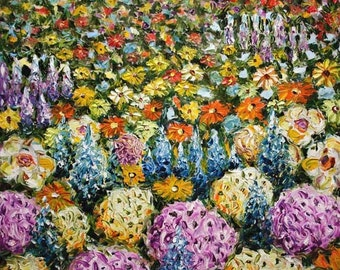 Nature Flowers - buy palette knife impressionism oil paintings by wwwRYBAKOWcom